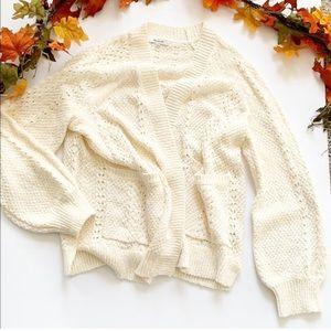 Madewell Cream Chunky Knit Cardigan L